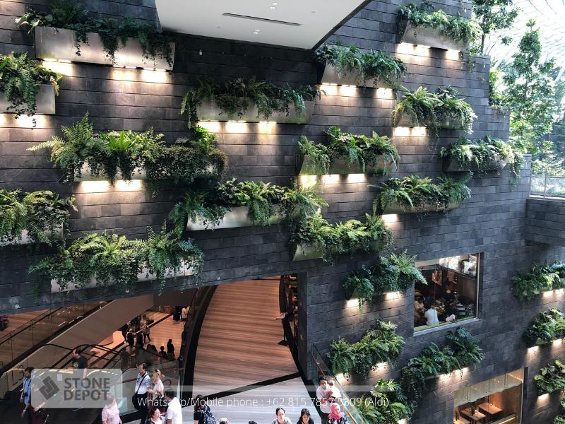 elegant-wall-cladding-jewel-changi-airport-singapore-black-lava-stone